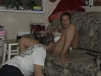 Dominant sexy wife getting her pussy eaten and her feet licked while playing with her cell phone