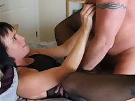 Horny slut wife fucked hard by a stranger with facial cumshot