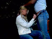 Kinky blonde wife giving hubby blowjob in public park