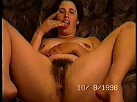 Hairy wife fingering and tasting herself on film for hubby